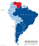 Карта стран MERCOSUR с приостанавливанной Венесуэлой Стоковые Изображения