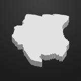 Карта Суринама в сером цвете на черной предпосылке 3d бесплатная иллюстрация