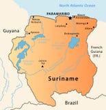 карта Суринам Стоковое Изображение