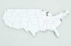 карта США Высоки детальный перевод 3D Иллюстрация штока