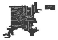 Карта США города Денвера Колорадо обозначила черную иллюстрацию Стоковое Фото