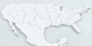 Карта США и Мексики Высоки детальный перевод 3D Стоковая Фотография RF
