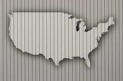Карта США на волнистом железе Стоковые Изображения RF