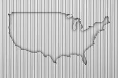 Карта США на волнистом железе Стоковые Фото