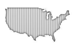 Карта США на волнистом железе Стоковая Фотография RF