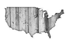 Карта США на выдержанной древесине Стоковая Фотография