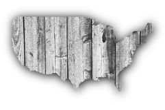 Карта США на выдержанной древесине Стоковые Фото