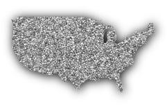 Карта США на маковых семененах Стоковое Фото
