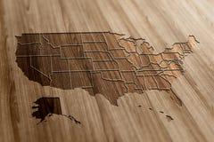 Карта США на древесине Стоковые Изображения RF