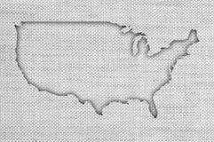 Карта США на старом белье Стоковая Фотография