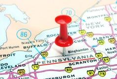Карта США положения Пенсильвании Стоковое Фото