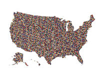 Карта США при изолированные люди Стоковое Изображение RF