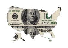 Карта США сформировала USD Стоковые Изображения RF