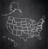 Карта США с доской классн классного Аляски и Гаваи Стоковая Фотография
