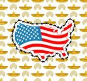 Карта США с колючей проволокой Америка закрывает границу по отношению к im Стоковая Фотография