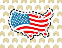Карта США с колючей проволокой Америка закрывает границу по отношению к im Стоковая Фотография RF