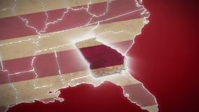 Карта США, Georgia вытягивает вне, все заявляет доступное Красная предпосылка видеоматериал