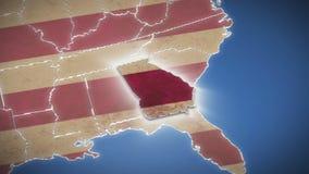 Карта США, Georgia вытягивает вне, все заявляет доступное background card congratulation invitation акции видеоматериалы