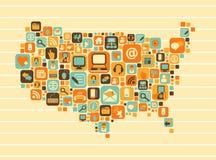 Карта США: social и значки средств массовой информации иллюстрация вектора