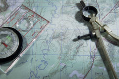 Карта с компасом Стоковая Фотография RF