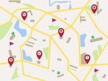 Карта с красными штырями и флагами указателя Стоковое фото RF