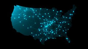 Карта с много сетевых подключений, компьютер США перевода 3d произвела фон Стоковые Фото