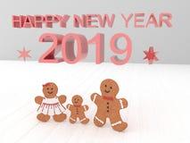 Карта С Новым Годом! 2019 праздника с печеньями на белом backgro иллюстрация штока