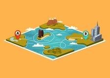 Карта с указателями карты Стоковая Фотография