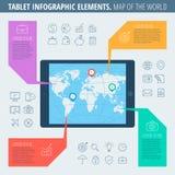 Карта таблетки мира Стоковая Фотография