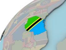 Карта Танзании с флагом Стоковые Фотографии RF