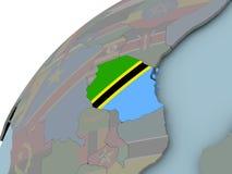 Карта Танзании с флагом Стоковое Изображение RF