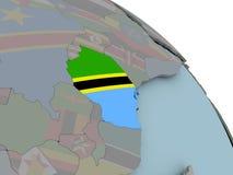 Карта Танзании с флагом Стоковые Фото
