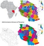 карта Танзания Стоковое Изображение