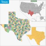 Карта Техаса Стоковые Изображения