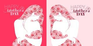 Карта торжества дня матерей Мать и младенец на розовой предпосылке иллюстрация штока