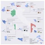 Карта точки и флага дизайна Италии Infographic Стоковые Изображения RF