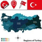 Карта Турции с зонами Стоковое Изображение