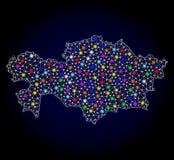 Карта туши сетки Казахстана с красочными светлыми пятнами бесплатная иллюстрация