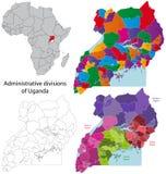 карта Уганда Стоковое Фото