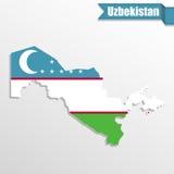 Карта Узбекистана с внутренностью и лентой флага иллюстрация вектора