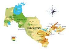 Карта Узбекистана физическая стоковая фотография