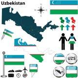 Карта Узбекистана Стоковое Изображение