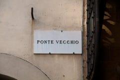 Карта улицы показывая vecchio ponte в Флоренции Стоковое Изображение