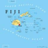 Карта Фиджи политическая иллюстрация штока