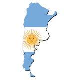 карта флага Аргентины Стоковое Изображение RF