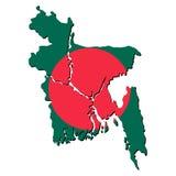 карта флага Бангладеша Стоковая Фотография RF