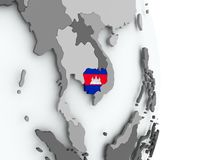 карта флага Камбоджи Стоковые Изображения