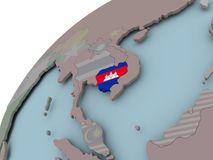 карта флага Камбоджи Стоковая Фотография RF