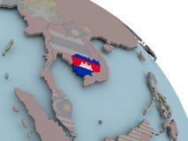 карта флага Камбоджи Стоковые Фото