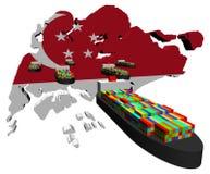 карта флага контейнера грузит singapore Стоковая Фотография RF